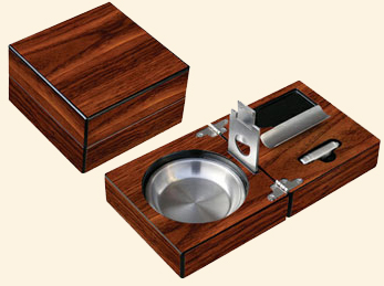 Folding Ashtray w/Cigar Cutter