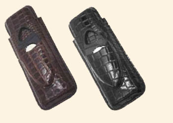 2 Finger Cigar Case w/Cutter-Alligator Finish