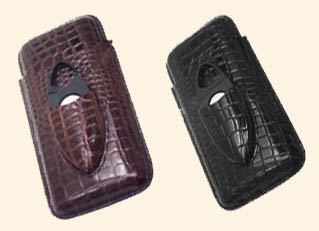 3 Finger Cigar Case w/Cutter-  Alligator Finish