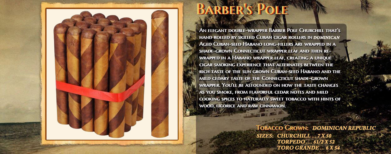Barber Pole Premium-Dual Wrap Cigars.. Free Shipping !