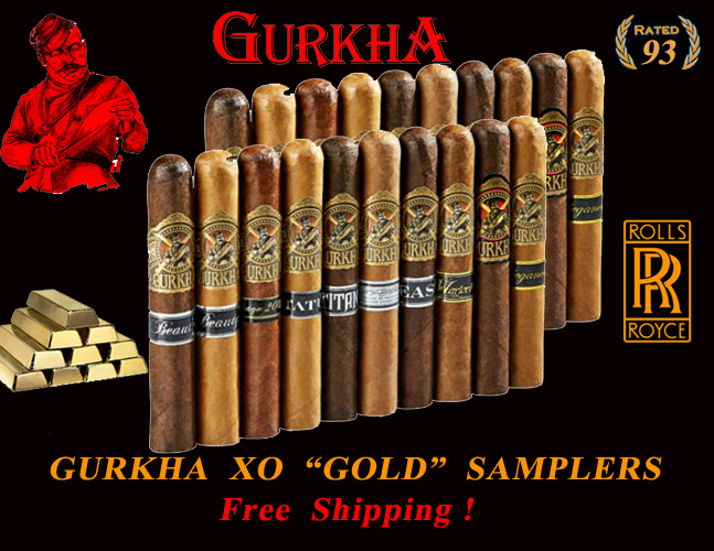 Gurkha's Finest  XO Gold  6x60 Super Samplers...Free Shipping !