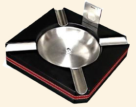 Leather Trimmed Ashtray & Cutter