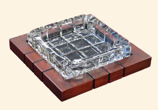 Wood & Crystal Cross-Hatch Ashtray