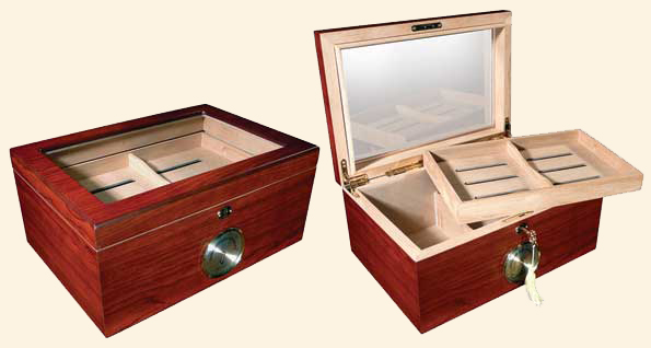 The Berkeley Humidor...100 Ct. Glasstop..Analog Hygrometer